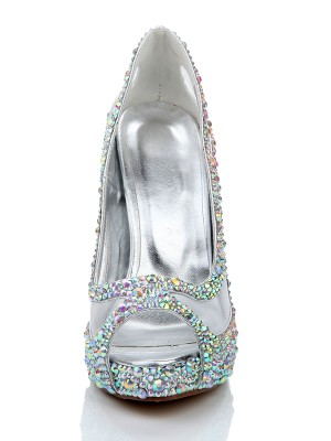 Sheepskin Diamond Net Satin Peep Toe High Heels