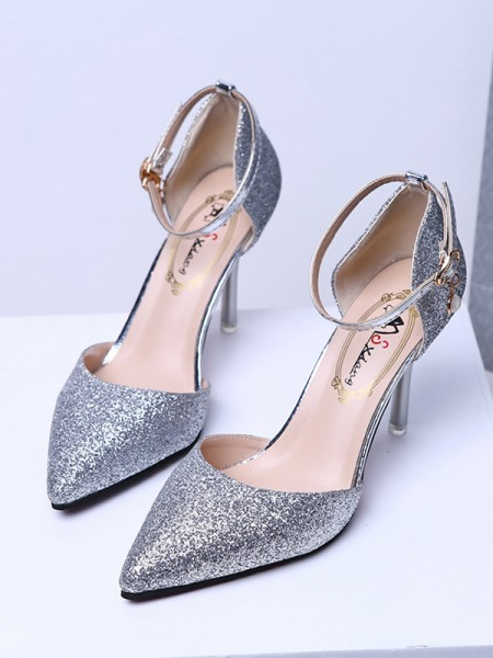 Damen Closed Toe Sparkling Glitter Pfennigabsatz High Heels