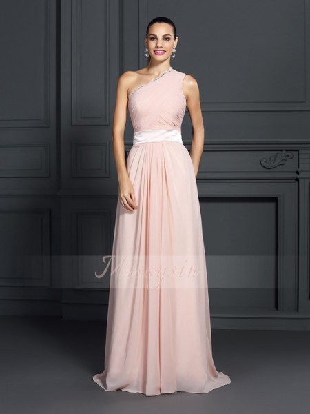 A-Linie/Princess-Linie One-Shoulder-Träger Chiffon Sweep/Pinsel zug Rüschen Ärmellos Kleid