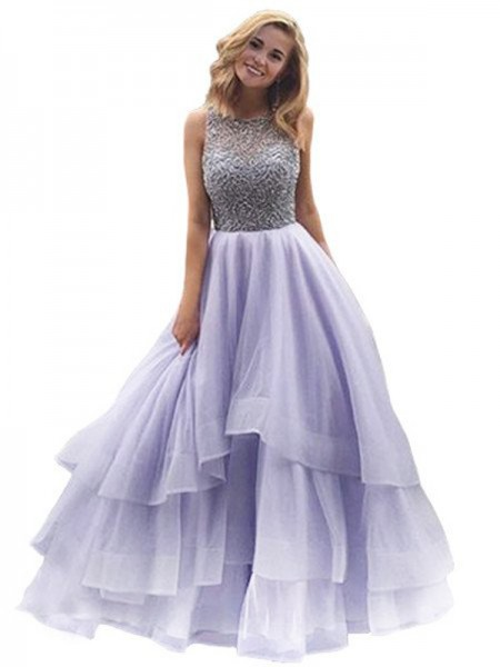 Ball Gown Floor-Length Organza Sleeveless Scoop Beading Dresses