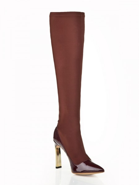 Damen Stiletto Heel Elastisch Leder Mit Rhinestone Knee High Chocolate Stiefel