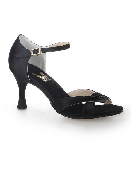 Damen Satin Peep Toe Stiletto Heel Buckle Tanzen Schuhe