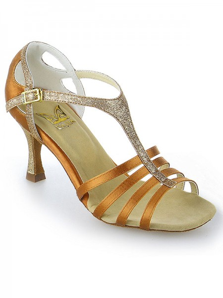 Damen Peep Toe Buckle Stiletto Heel Satin Tanzen Schuhe