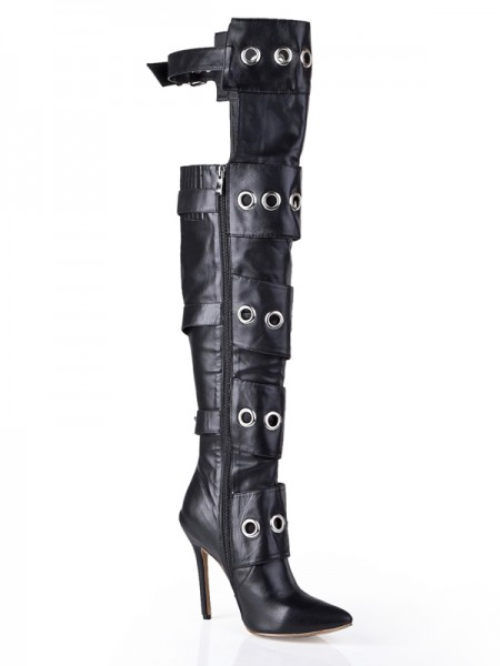 Damen Cattlehide Leder Stiletto Heel Mit Buckle Knee High Schwarz Stiefel