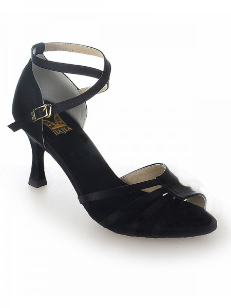 Damen Peep Toe Satin Stiletto Heel Buckle Tanzen Schuhe