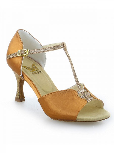 Damen Stiletto Heel Buckle Peep Toe Satin Tanzen Schuhe